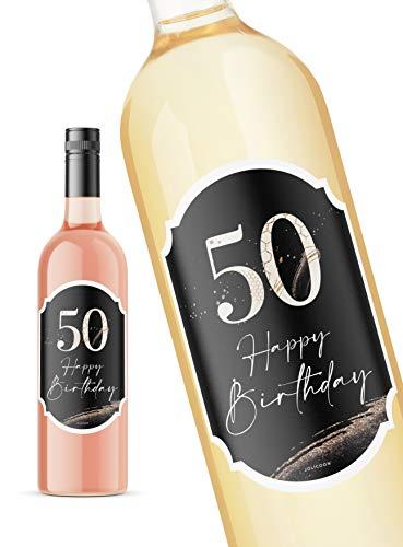 JoliCoon 50 Geburtstag Flaschenetikett - Happy Birthday 50 8,5x12cm