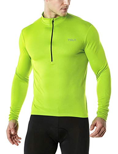 TSLA Men's Long Sleeve Bike Cycling Jersey, Quick Dry Breathable Reflective Biking Shirts with 3 Rear Pockets, Cycle Long Sleeve(mct21) - Neon Yellow, X-Large