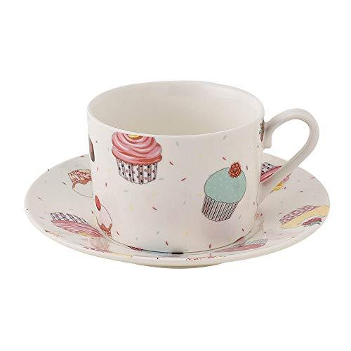 SXXYTCWL Taza de café y platillo Conjunto de cerámica Flor de Alta Temperatura de la Flor de té de la Taza de té de la cafetera de la cafetería del Desayuno de la Oficina de la Oficina de la cafetera