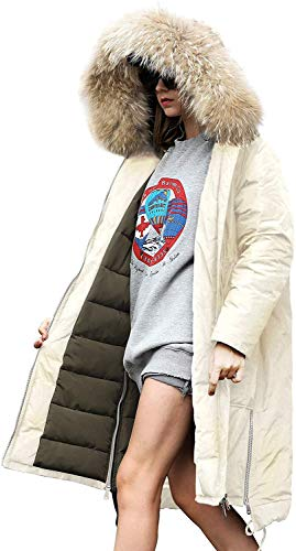 you.u Abrigo de Invierno de Las Mujeres Beiges Largo Puffer Down Chaqueta de Las Mujeres Impermeables Puffer Bubble Coat Quilted Hood Faux Fake de Las Pieles de Las Mujeres Cute Warm Casual Coat -L