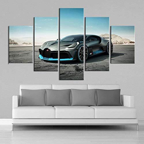 FJNS Bugatti vehículo Deportivo Coche 5 Piezas Cuadros en Lienzo Arte de Pared sin Marco Impresiones póster habitación de niños decoración del hogar,30x40x2+30x60x2+30x80x1