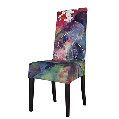 XBSXP Fundas elásticas para sillas de Comedor de 2 Piezas, Funda Protectora de Asiento de Carpa roja de Arte Chino para decoración de sillas de Hotel