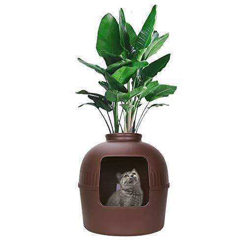 Kattenbak, multifunctionele verborgen vuilnisbak met plantenbakkatten Huisdieren met capuchon Kunststof vuilbak voor kleine woonruimtes Gebruik, BRON