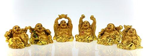 Juego de 6amuletos de la suerte, diseño con figura de Buda feliz