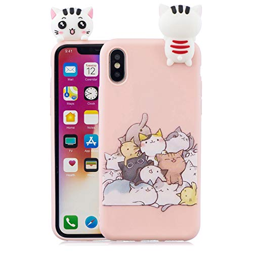 EuCase Coque iPhone XS Silicone Rose Housse Etui iPhone X Antichoc Mignon 3D Cartoon Dessin Animaux Ultra Mince Fine Souple TPU Case Protection Bumper Case Cover Chat