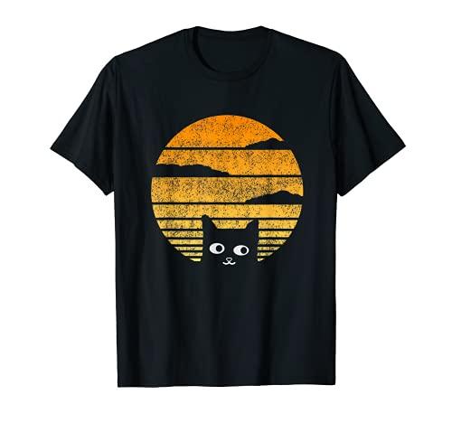 Diseño de contorno de sol y gato fresco para los amantes de Camiseta