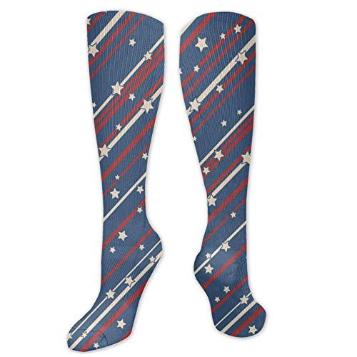 FETEAM Usa Patriotic Stars And Stripes Novedad Cool Dress Crew Calcetines, Calcetines largos Transpirable Comodidad Compresión Calcetines de tobillo alto 2 Pares