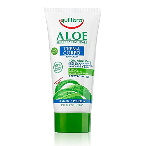 Equilibra Cuidado Corporal, Crema Hidratante Corporal a Base de Aloe Vera con Efecto Calmante, Tonificante, Protector y Refrescante de la Piel, 150 ml