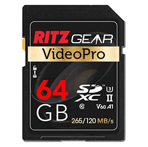 SD UHS-II 64 GB SDXC Speicherkarte U3 V60 A1, Extreme Performance Video Pro SD-Karte (Lesen 265 MB/S Schreiben 120 MB/S) für erweiterte DSLR Funktionen, gut geeignet für Full-HD-Video