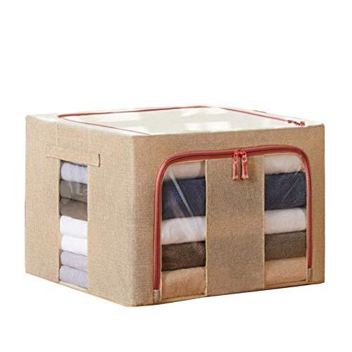PPLAA Bolsa de Almacenamiento Plegable Ropa Manta Edredón Closet Sweater Sundries Ropa Organizador Caja Bolsa de algodón Lino Tela Cajas de Almacenamiento (Color : A)