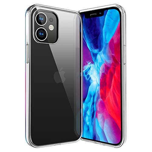 ivencase für iPhone 12 Hülle Transparent, Crystal Silikon Schlank Transparent TPU [Anti-Gelb] Durchsichtige Schutzhülle Hülle Superdünnen Hülle passt iPhone 12 5.4