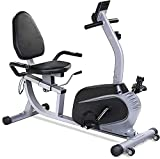 Recumbent Exercise Bike, Sturdy & Quiet Stationary Recumbent Bike Large Comfortable Seat with Pulse Monitor 8 Levels Magnetic and iPad Holder Cardio Workout at Home for Seniors Adults