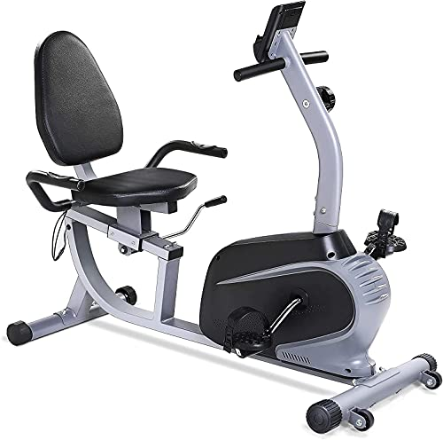 Recumbent Exercise Bike, Sturdy & Quiet Stationary Recumbent Bike Large Comfortable Seat with Pulse...