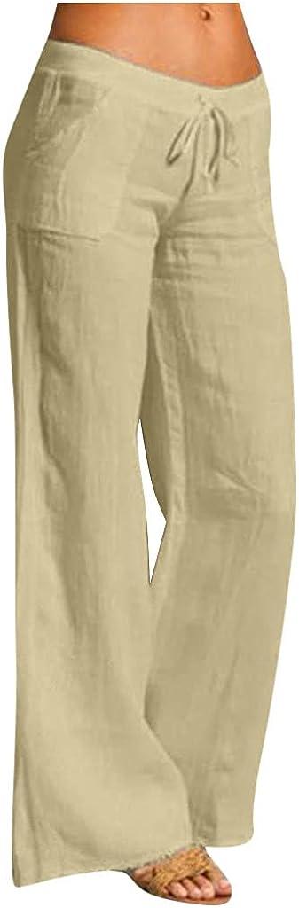 Misaky Women Casual Solid Cotton Linen Elastic Waist Drawstring Long Wide Leg Pants Jogger Pants