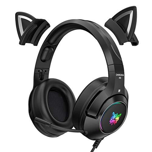 Headphones Professional K9 Gamer Headset Black for Cat Ear Cute Stereo Earphones Ergonomic Design Wired Headset with Microphone RGB Gaming Headphones