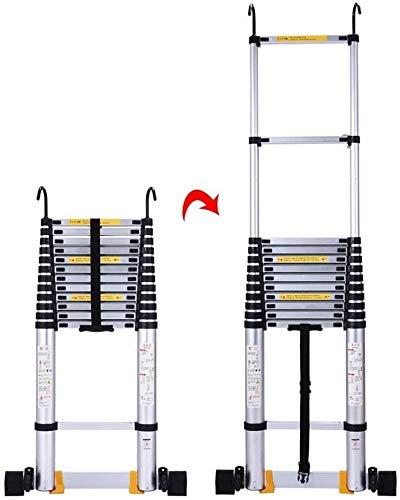 UIZSDIUZ Escalera de heces Las escaleras telescópicas,Plegable Lighhtweight Aluminio telescópica Escalera,Heavy Duty Multiuso Escalera de Extensión de Ingeniería,330Lbs Capacidad, Escala de Seguridad