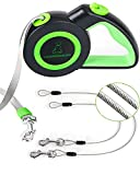 Chew Proof Retractable Dog Leash with 2 Heavy Duty Anti-Chewing Wire Ropes, 16FT Leashes 360 Tangle Free for 2 Dogs, Dual Dog Lead for Small/Medium/Large Dogs