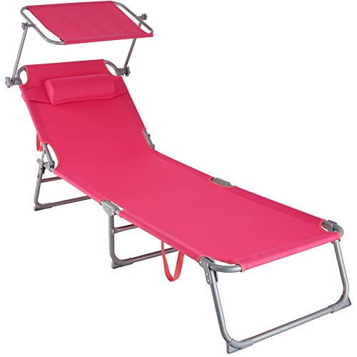 TecTake 800772 Sonnenliege mit Dach, klappbare Strandliege, Gartenliege mit Kopfkissen, Sonnendach verstellbar, Liegestuhl mit Verstellbarer Rückenlehne - Diverse Farben - (Pink | Nr. 403419)