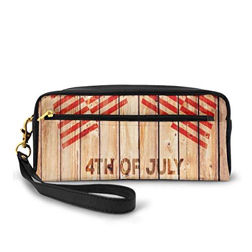Pencil Case Pen Bag Pouch Stationary,Wooden Planks Background With United States Flag Design And Colorful Banner,Small Makeup Bag Coin Purse