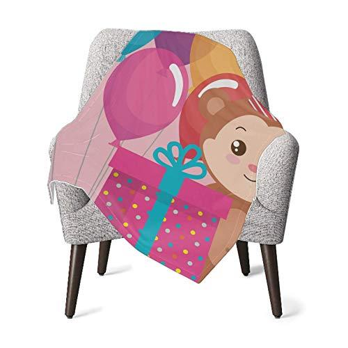 Manta para bebé, linda manta de regalo con globos de monito para cama de bebé, cuna, cochecito, ropa de cama de guardería esencial (76,2 x 101,6 cm)