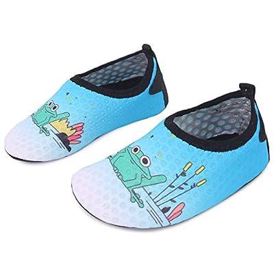 L-RUN Kids Swim Water Shoes Boys Girls Barefoot Aqua Socks Blue 9.5-10=EU26-27