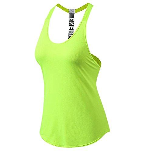 YiJeee Donna Sportivo Esercizio Formazione Fitness Yoga Quick-Drying Gilet Maglietta Canotte Vest Verde M