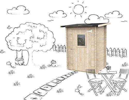 Casetta in legno Addossato Jack Per Attrezzi Giardino con porta singola finestrata Jack naturale 146 x 98 cm
