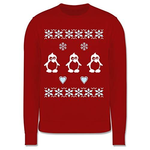 Shirtracer Weihnachten Kind - Norweger Pixel Pinguin - 104 (3/4 Jahre) - Rot - Norweger Pullover Kinder hellblau - JH030K - Kinder Pullover