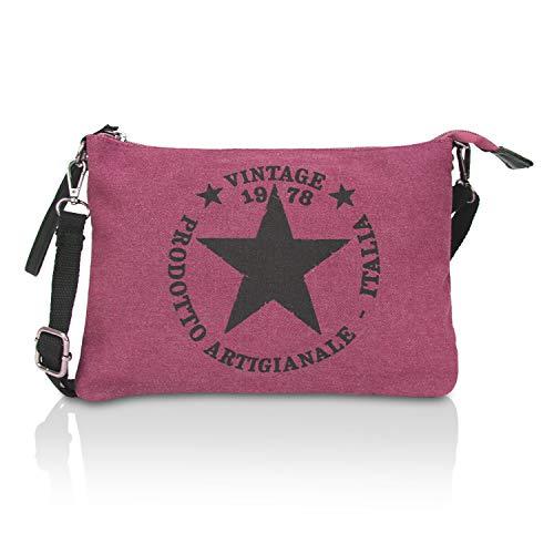 Glamexx24 Damen Clutches Tasche Handtaschen Schultertasche Umhaengetasche mit Stern Muster Tragetasche