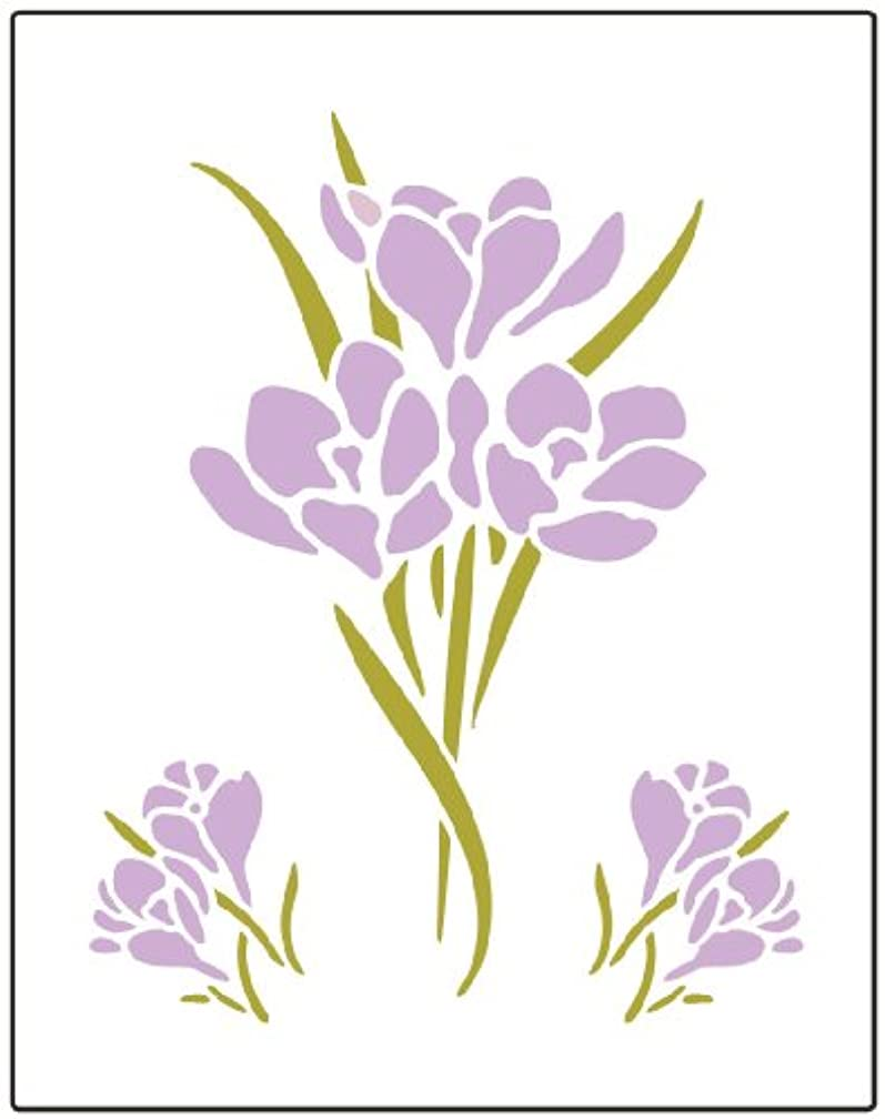 Faux Like a Pro Crocus Flower Stencil, 5.5 by 7-Inch, Single Overlay