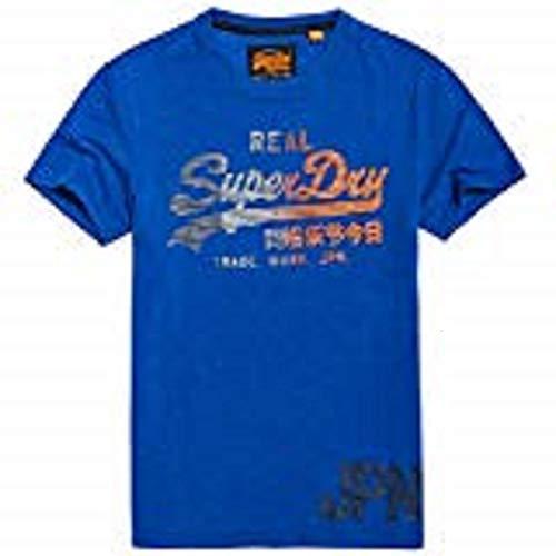 Superdry Men's T-Shirt Vintage Logo 1ST TEE, Portland Cobalt grit, M