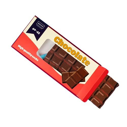 soxo lustige Schokolade Herren Socken Geschenkbox | Größe 40-45 | Bunte Herrensocken aus Baumwolle | Besondere, mehrfarbig gemusterte Lange Socken für Männer