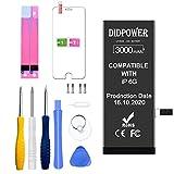 Didpower Reemplazo Compatible con iPhone 6 3000mAh [Super Capacidad] Batería con Kits de Herramientas de Reparación, Hoja de Vidrio Templado, Manual de Reparación