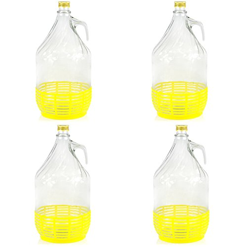 MADE IN ITALY 4 x 5L Weinballon Glasballon mit Schraubverschluß und Kunststoffkorb Glasflasche Gärballon