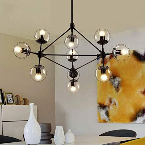 K.LSX Hanglampen voor Keuken Eiland, 10-Heads Glas lampenkappen plafondlampen Retro Industriële Steampunk Verlichting Plafond Lampen voor Slaapkamer Woonkamer Eetkamer