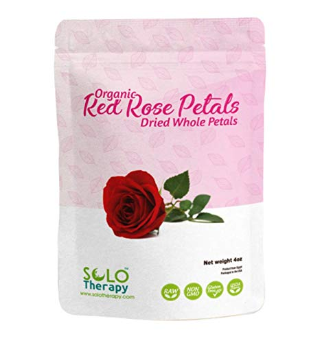 Organic Red Rose Petals 4 oz. , Dried Rose Petals , Rose Tea, Pétalos de Rosas Rojas, Cosmetics , Food Grade, Food Decorating , Product From Egypt, Packaged in the USA
