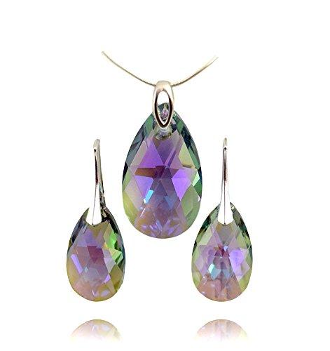 Beforya Paris – Set di gioielli – molti colori – Argento 925 Bella parure da donna con cristalli Swarovski Elements – Meravigliosa parure con confezione regalo