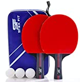 Set Racchette Ping Pong Professionale STEXFIT, 2 Racchette Con Borsa, 2 Racchette Ping Pong In Gomma Premium a Doppia Faccia + 3 Palline Ping Pong