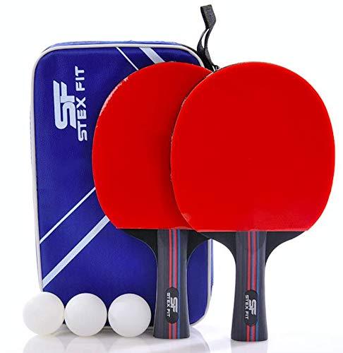Set Racchette Ping Pong Professionale STEXFIT, 2 Racchette Con Borsa, 2 Racchette Ping Pong In Gomma Premium a Doppia Faccia + 3 Palline Ping Pong
