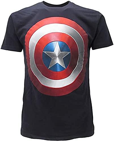 Marvel Camiseta del Capitán América Original Los Vengadores Escudo azul oscuro L