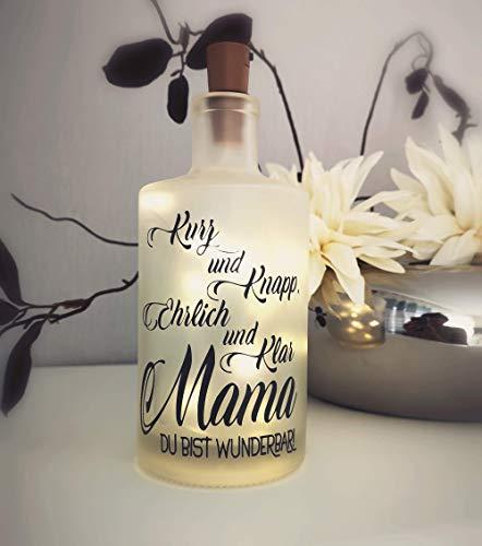 AScreativ Dekoflasche mit Beleuchtung * Mama du bist wunderbar * Flaschenlicht * Bottlelight - Statement Spruch Flasche