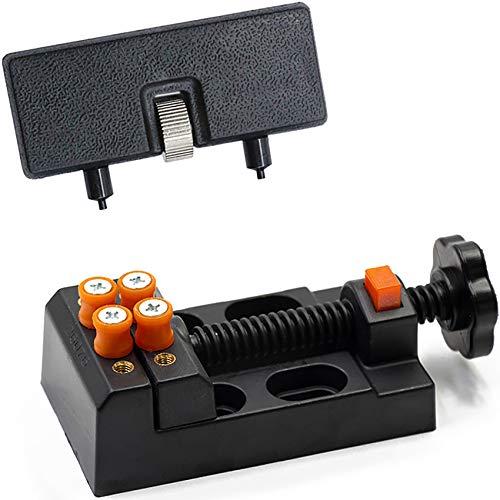 Set di strumenti per aprire orologi, orologiaio, cassa posteriore, apriole e supporto regolabile per riparazioni di orologi come sostituzione della batteria (nero)