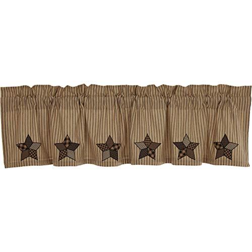 VHC Brands Farmhouse Star Appliqued Cotton Primitive Kitchen Curtains Rod Pocket Hanging Loops 16x72 Valance, Raven Black