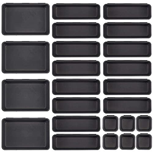 24 Pcs Desk Drawer Organizer Set 3-Size Trays Plastic Makeup...