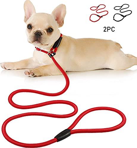 LangJiao Guinzaglio Corda per Cani Anello Regolabile in Nylon al Piombo Guinzaglio per Cani Addestramento Piombo Collare per Animali Domestici Addestramento a Piedi 1.5 m (rosso, nero, 2pc)