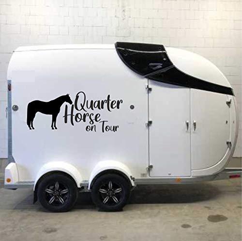 Pegatina Promotion Pferde Silhouette Typ1 ca 90cm (1 Stück) mit Schriftzug Quarter Horse on Tour reiten Reitsport Aufkleber Sticker Profi Qualität