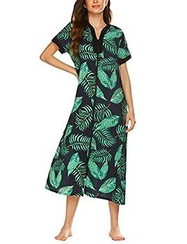 luxilooks Duster Housecoat Women House Dresses Zip Front Bathrobes Lightweight Robe Short Sleeve Nightgown