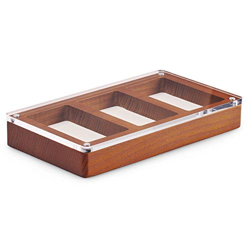 Oirlv Solid Wooden Glass Top Jewelry Display Case,Wooden Small Jewelry Tray for Collectibles Home Organization Accessories Storage Box with Lid(Creamy-white)