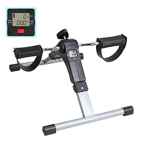 AMAZOM Ejercitador De Pedal Plegable para Debajo del Escritorio con Pantalla LCD, Mini Bicicleta Estática Magnética, Ejercitador De Recuperación con Resistencia Ajustable