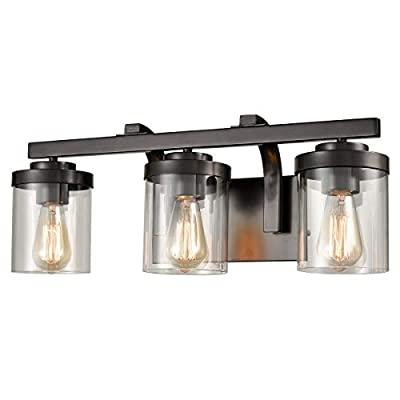 AXILAND Oil Rubbed Bronze Bathroom Vanity Light Fixture 3 Light with Clear Glass Shade